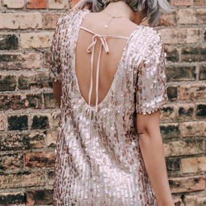 Loveriche Blush Pink Sequin Tie Back Dress Medium